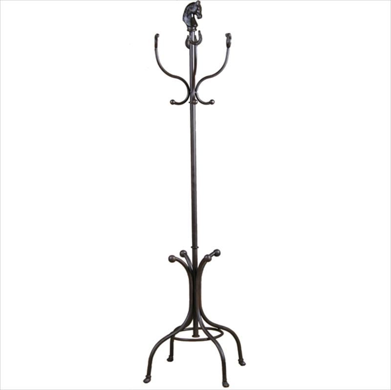 Equestrian Coat and Hat Rack with Horse Head and Horse Shoes