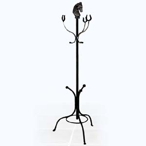 Equestrian Coat and Hat Rack with Horse Head and Shoes