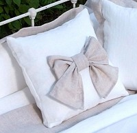Laundered Linen Bow Pillow