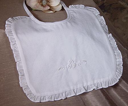 SoDainty Embroidered Beaded Christening Bib