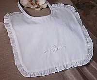 SoDainty Embroidered Beaded Christening Bib