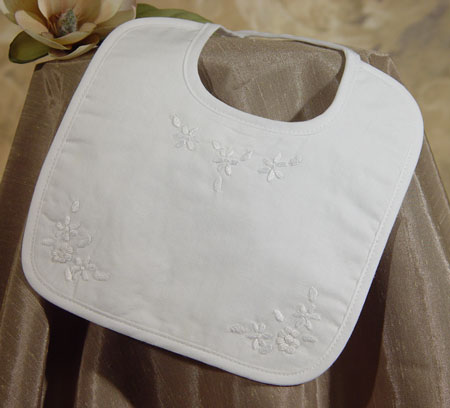 SoDainty Girls Embroidered Christening Bib