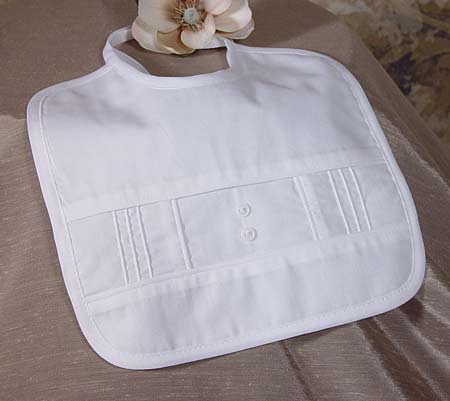 SoDainty Boys Pin Tucked Christening Bib