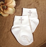 SoDainty Boys Embroidered Christening Sock