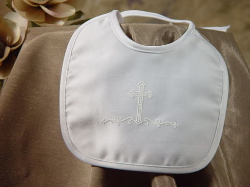 SoDainty Satin Bib with Screened Cross