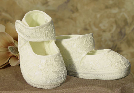 SoDainty French Ivory Lace Christening Slipper