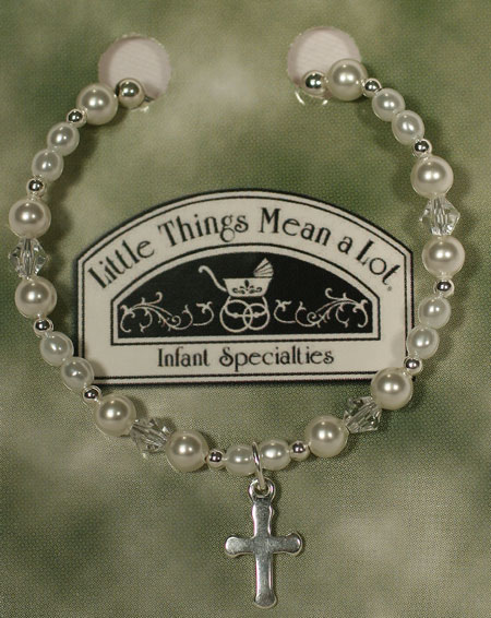 SoDainty Pearl & Silver Bracelet with Cross