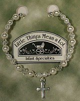 SoDainty Pearl & Silver Bracelet with Cross