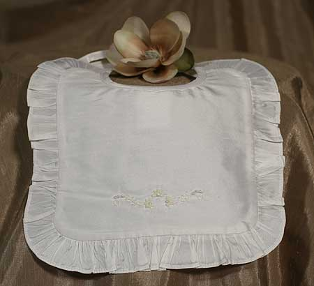 SoDainty Ruffled Beaded Silk Christening Bib